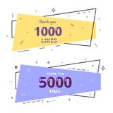1k and 5k likes thank you. Vector illustration. 1000 and 5000 likes thank you cards. Template for social media. Vector illustration Royalty Free Stock Photos