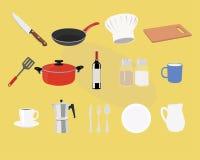 K?k- och matlagningsymbolsupps?ttning ocks? vektor f?r coreldrawillustration vektor illustrationer