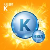 K Kalium Vector. Mineral Blue Pill Icon. Vitamin Capsule Pill Icon. Substance For Beauty, Cosmetic, Heath Promo Ads. Design. Mineral Complex With Chemical Stock Image