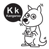 K Kangaroo cartoon and alphabet for children to learning and col. Oring page vector illustration eps10 Royalty Free Stock Photography