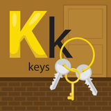 K for keys. The letter k for the object keys stock illustration