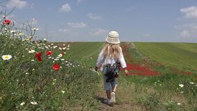 4K Kid Walking in Poppy Flowers Field, Child Playing on Meadow, Girl Running Outdoor in Summer Nature
