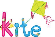 K for kite. Illustration of k for kite Stock Photos