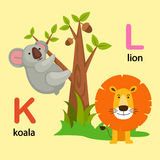 K-koala de lettre d'alphabet, L-lion Photo libre de droits