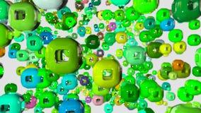 4k kretsade animeringen 3d med en skiftande fokus därefter fram och tillbaka, djup av fältet, bokeheffekter Abstrakt sammansättni vektor illustrationer
