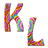 K, L,Colorful wave font illustration. Royalty Free Stock Photo