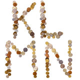 K-L-M-N Alphabetbuchstaben von den Münzen Stockfotografie