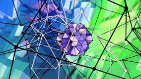 4k lage polyanimatie als achtergrond in lijn Naadloze 3d animatie als creatieve eenvoudige lage polyachtergrond V2 blauwgroen vector illustratie
