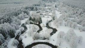 4K Lage vlucht boven windende rivier in bevroren bos bij mistig weer Luchtpanorama van mooie de wintervallei stock footage