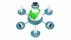 4k laptop & 3d people around rotate earth,Devices Connecting To Internet. 4k laptop & 3d people around rotate earth,computer network,Devices Connecting To stock illustration
