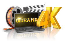 4K laptop and film strip Stock Photos