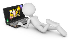 4K laptop and man. On a white background, 3d render Royalty Free Stock Photos