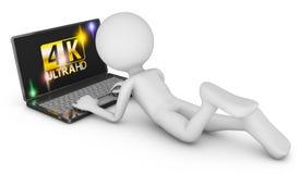 4K laptop and man. On a white background, 3d render vector illustration