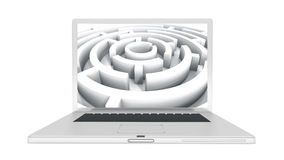 4k Laptop play video of rotating maze,abstract business & tech background. stock video