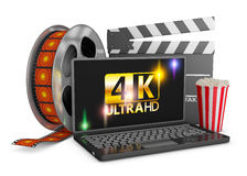 4K laptop, popcorn and film strip. On a white background, 3d render Vector Illustration