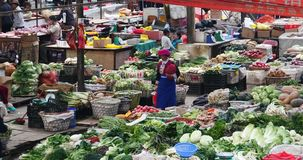 4k large outdoor vegetable & fruits trade market in Shangri-La,china. 4k large outdoor vegetable trade market in Shangri-La,china,minority women,variety of stock video