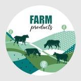 K?he lassen in der Wiese weiden Runder Hintergrund für Entwurf von Agrarprodukten lizenzfreie abbildung