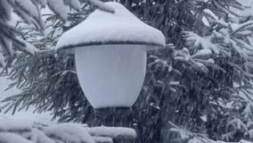 4k - Laterne ohne Lite mit vielem Schnee im Wald am Schneewetter stock video footage
