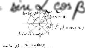4k - Lazo de la ecuación de la trigonometría de la matemáticas con mate alfa almacen de video