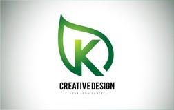 K Leaf Logo Letter Design with Green Leaf Outline Royalty Free Stock Image