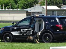 K9 leaving police vehicle. To subdue suspect in training stock photos