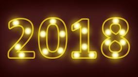 4K lengtelijn Gelukkig nieuw jaar 2018 gloeilamp die in aantal 2018 voor gelukkige nieuwe jaar 2018 achtergrond opvlammen royalty-vrije illustratie