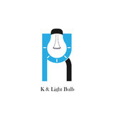 K-letter/alphabet icon and light bulb abstract logo design vector. Template.Corporate business and industrial logotype idea concept.Vector illustration Stock Photos