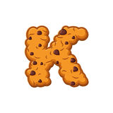 K letter cookies. Cookie font. Oatmeal biscuit alphabet symbol. Stock Image