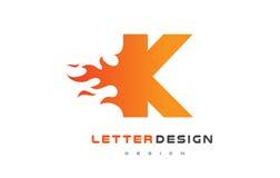 K Letter Flame Logo Design. Fire Logo Lettering Concept. Stock Image
