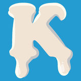 K letter isolated on baby blue background Royalty Free Stock Images