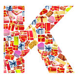 K Letter  made of giftboxes Stock Photos