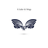 K-letter sign and angel wings.Monogram wing vector logo template Stock Image