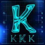 K Letter Vector. Capital Digit. Roentgen X-ray Font Light Sign. Medical Radiology Neon Scan Effect. Alphabet. 3D Blue. Light Digit With Bone. Medical Stock Image