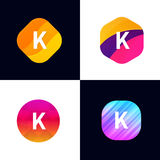 K letter vector company icon signs flat symbols logo set Royalty Free Stock Images