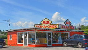 A&K Lick-A-Chick restaurant. Little Bras d'Or, NS, Canada - August 1, 2016:  The A&K Lick-A-Chick restaurant has been an iconic stop in Cape Breton for Stock Photo