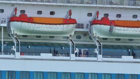 4k Life rafts on a cruise ship stock video