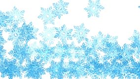 4K Light blue crystal snowflakes is falling down on a white stock video footage