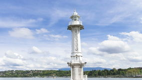 4k Lighthouse on Lac Leman in Geneva, Switzerland stock video footage
