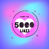 5k likes thank you. Vector illustration. 5000 likes thank you card. Template for social media. Vector illustration vector illustration