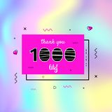1k likes thank you. Vector illustration. 1000 likes thank you card. Template for social media. Vector illustration Stock Photography