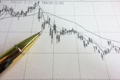 K-line chart of stock and pen stock photography