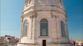 4k Lisbon Basilica da Estrela Portugal motion timelaspe hyperlapse UHD city. 4k Lisbon Basilica da Estrela Portugal motion timelaspe square city centre stock video