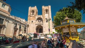4k Lisbon cathedral Portugal motion timelaspe hyperlapse UHD city summer. 4k Lisbon cathedral Portugal motion timelaspe square city centre hyperlapse UHD summer stock video footage