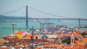 4k Lisbon Portugal bridge timelaspe hyperlapse UHD city funtain. 4k Lisbon Portugal bridge timelaspe city centre hyperlapse UHD summer sun bright vacations stock video