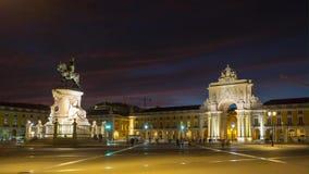 4k Lisbon Portugal Commercial square motion timelaspe hyperlapse UHD night stock footage