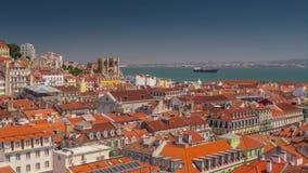 4k Lisbon Portugal city centre motion timelaspe hyperlapse UHD city summer. 4k Lisbon Portugal motion timelaspe city centre hyperlapse UHD summer sun bright stock footage