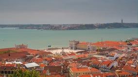 4k Lisbon Portugal Commercial square motion timelaspe hyperlapse UHD city. 4k Lisbon Portugal motion timelaspe Commercial square city centre hyperlapse UHD stock video