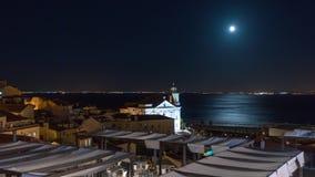4k Lisbon Portugal motion timelaspe hyperlapse UHD night moon. 4k Lisbon Portugal motion timelaspecity centre hyperlapse UHD summer night bright vacations moon stock video