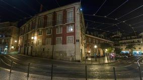 4k Lisbon Portugal motion timelaspe hyperlapse UHD night streets lights. 4k Lisbon Portugal motion timelaspecity centre hyperlapse UHD summer night bright stock footage