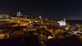 4k Lisbon Portugal motion timelaspe hyperlapse UHD night streets lights sunset. 4k Lisbon Portugal motion timelaspecity centre hyperlapse UHD summer night bright stock video footage